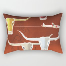 Longhorns TEXAS American Airlines Vintage Travel Poster 1953 by Charles Parker Rectangular Pillow