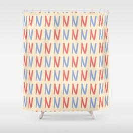 Upper Case Letter N Pattern Shower Curtain
