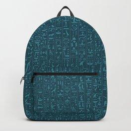 Hieroglyphics Moonstone BLUE / Ancient Egyptian hieroglyphics pattern Backpack