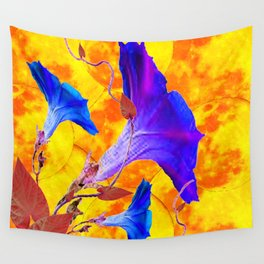 Purple & Blue Morning Glories Gold Art Wall Tapestry