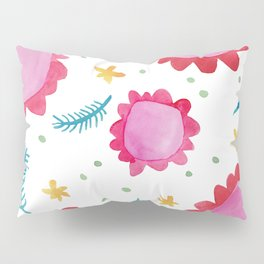 Painted Flowers red Pillow Sham
