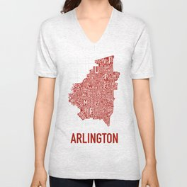 Arlington Neighborhood Map Unisex V-Neck