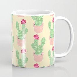 Cactus Pattern Illustration in Bloom Green Pink Yellow Coffee Mug
