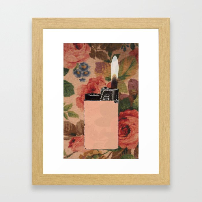 lighter on floral Framed Art Print