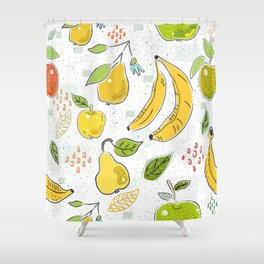 Cute Seamless Pattern with Apples, bananas and Pears. Scandinavian Hand Drawn Style. Shower Curtain