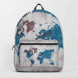 world map 96 blue #worldmap #map Backpack
