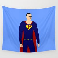 superman Wall Tapestries featuring Superman by pablosiano