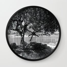 tree by the lake Wall Clock