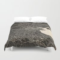 dublin Duvet Covers featuring dublin map ink lines by NJ-Illustrations