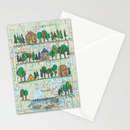 """Eagle River, WI """"Up North""""Continuous Line Drawing on vintage map Stationery Cards"""