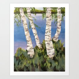 Four Birch on the Lake Art Print