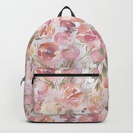 Blush pink coral orange watercolor elegant floral Backpack