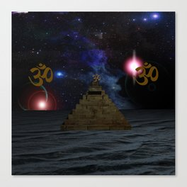 OM and the space Pyramid Canvas Print