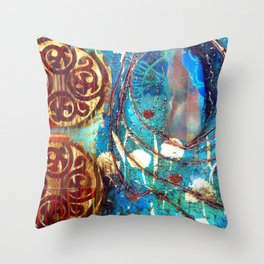 Midnight Moon Feline Throw Pillow