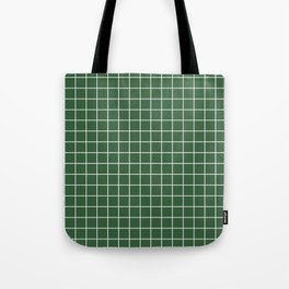 Hunter green - green color - White Lines Grid Pattern Tote Bag