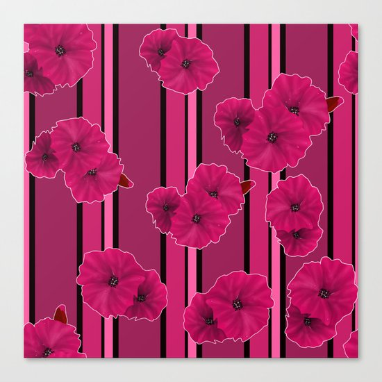 Floral pattern on striped background Canvas Print