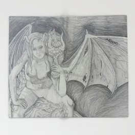 Dragon lady Throw Blanket