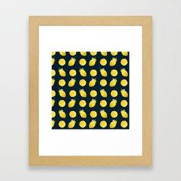 Watercolor Lemon Pattern Framed Art Print
