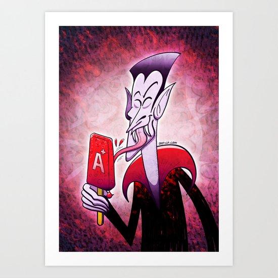 Dracula Licking a Blood Flavored Popsicle Art Print