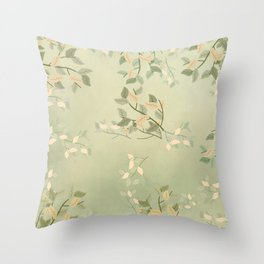 Sage Green Watercolor Woodland Leaves Throw Pillow