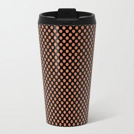 Black and Coral Gold Polka Dots Travel Mug