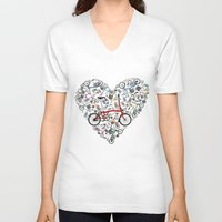 brompton V-neck T-shirts featuring I Love Brompton Bikes by Wyatt Design