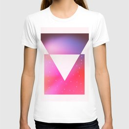 Triangle meets square geometric composition T-shirt