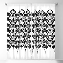 black and white art deco inspired fan pattern Blackout Curtain