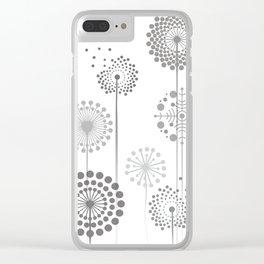 Monochrome Dandelions Clear iPhone Case
