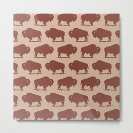Buffalo Bison Pattern Brown and Beige Metal Print