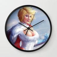 girl power Wall Clocks featuring Power Girl by Michele Frigo