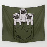 pocket Wall Tapestries featuring Pocket Pug by Kellabell9
