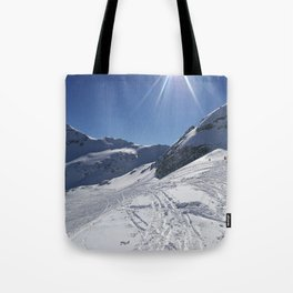 Up here, with sun and snow Tote Bag