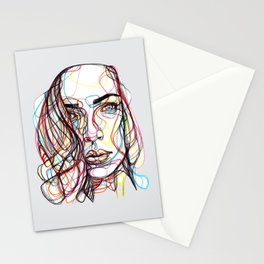 portrait style line - ritratto in stile linee colorate - lignes style portrait couleur Stationery Cards
