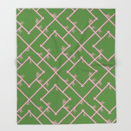Bamboo Chinoiserie Lattice in Green + Pink Throw Blanket