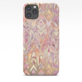Glowing Coral and Amethyst Art Deco Pattern iPhone Case