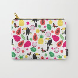 Tropical Toucan Bird Fruit Pattern Carry-All Pouch