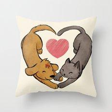 Cat Love Dog Throw Pillow