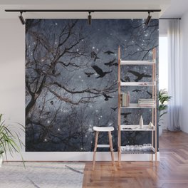 Woodland Crows And Bursting Stars Wall Mural