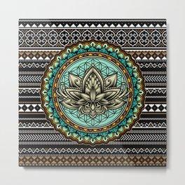 Lotus Mandala Pattern Metal Print