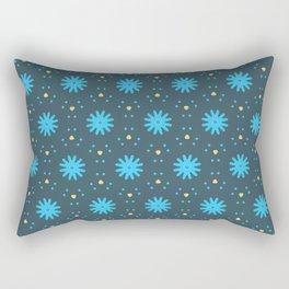Aqua Multiflower Design Rectangular Pillow