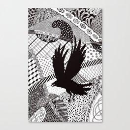 Black Crow Flying Canvas Print