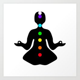 Meditation pose with chakras Art Print