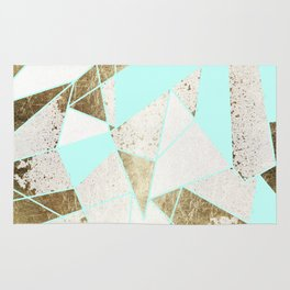 Modern Rustic Mint White and Faux Gold Geometric Rug