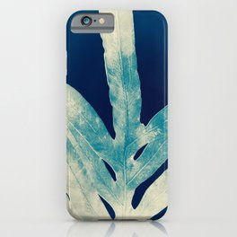 Green Fern at Midnight Bright, Navy Blue iPhone Case