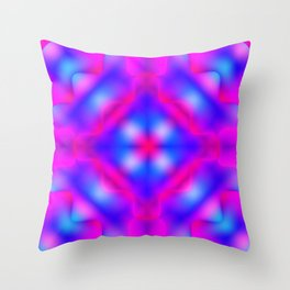 Bright pattern of blurry pink and light blue flowers in a light kaleidoscope. Throw Pillow