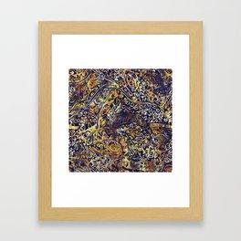 Blue Hawaiian Gold Yellow Ancient Pattern Framed Art Print