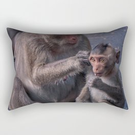 Mother and Baby Macaque Monkey Rectangular Pillow