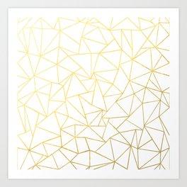 Ab Outline White Gold Art Print