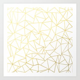 Ab Outline White Gold Art Print